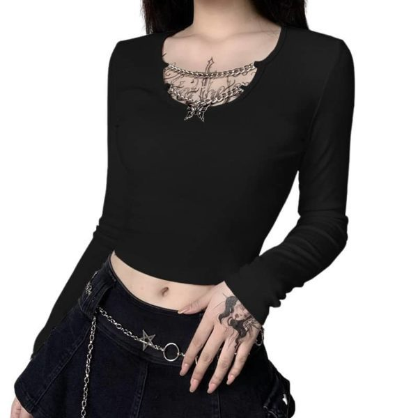 Crop Top with Butterfly Pendant in Chest Chains Black
