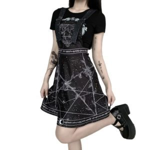 Gothic Constellation Roses Mini Dress