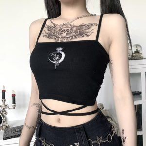 Moon Rose Black Crop Top