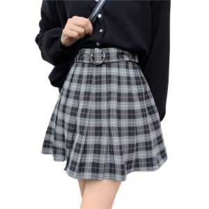Pleated Plaid Mini Skirt with Ring Belt