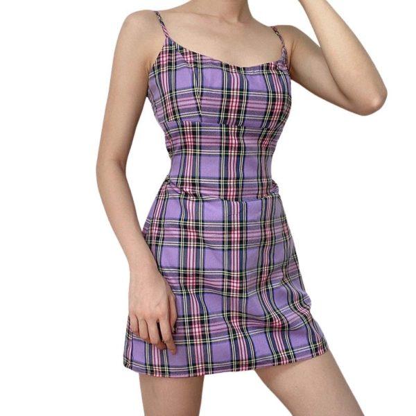 Purple Plaid Mini Dress