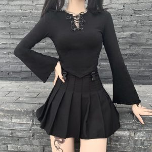 Lace Up Asymmetrical Crop Top