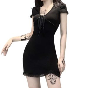 Black Lace Ribbon Mini Dress