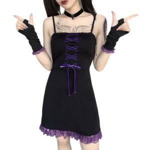 Black Mini Dress with Purple Lace Ruffle