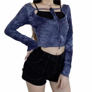 Blue Tie-Dye Crop Top