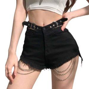 High Waist Black Shorts with Chains