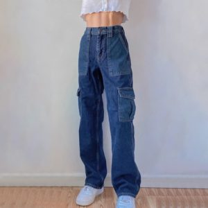High Waist Blue Jeans with Pockets
