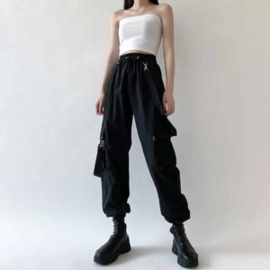 High Waist Cargo Pants with Belts and Pockets