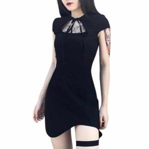 Lace Up Front Irregular Mini Dress