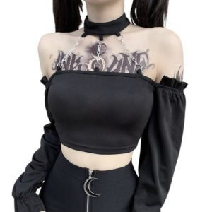 Long Sleeve Crop Top with Triple Chains Choker