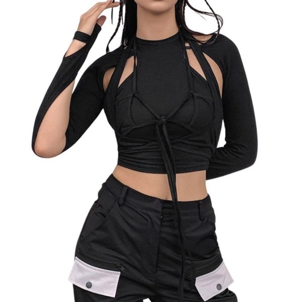 Long Sleeve Hollow Out Crop Top