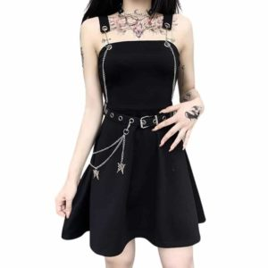 Mini Dress With Belt & Butterflies Chains