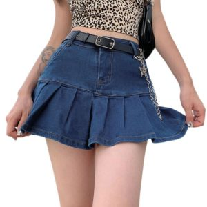 Ruffle Denim Mini Skirt