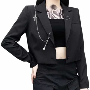Black Blazer with Metal Chain