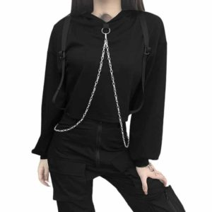 Black Hoodie with Neck Chains