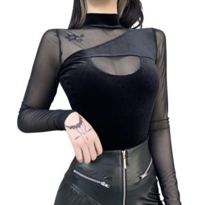 Black Mesh Top with Back Zipper