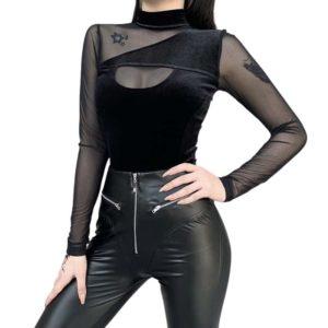 Black Mesh Top with Back Zipper