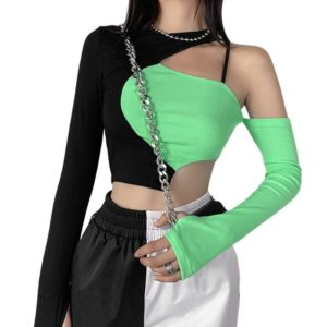 Black & Neon Green Crop Top