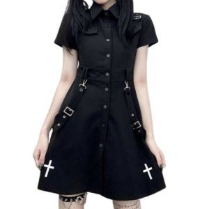 Gothic High Waist Mini Dress with Cross