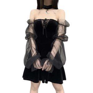 Gothic Mesh Mini Dress