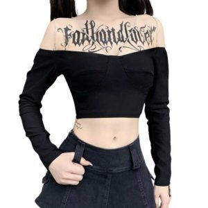 Gothic Off Shoulder Crop Top with Chains