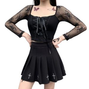 Gothic Top with Long Lace Sleeves