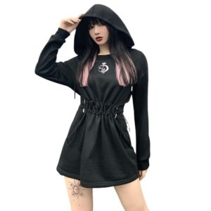 Moon & Rose Hooded High Waist Dress