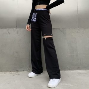 """Peace Love Flirt"" High Waist Patchwork Pants"