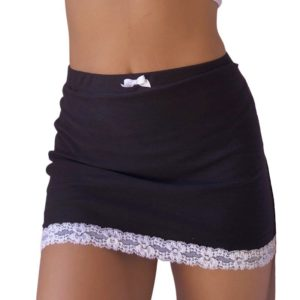 Black Mini Skirt with Lace Patchwork and Bow