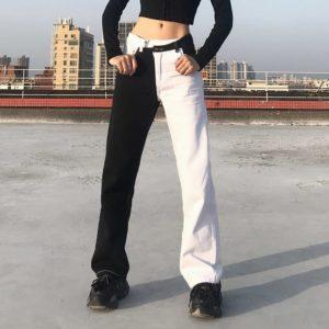 Black and White Split Jeans