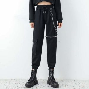 Cargo Pants with Knee Zipper and Waist Chains