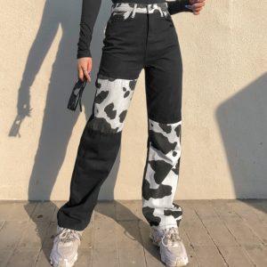 Cow Print Jeans Black
