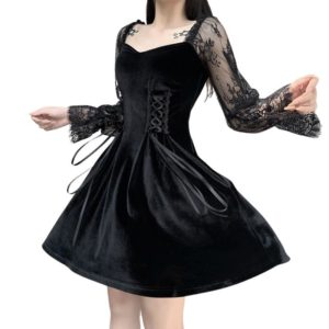 Gothic Dress with Lace Patchwork Sleeves