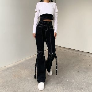High Waist Cargo Pants with White Stitching