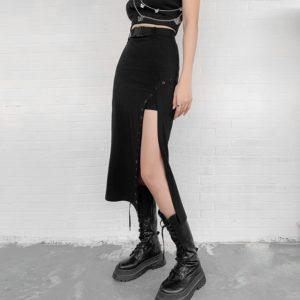High Waist Side Split Midi Skirt with Buckle Belt