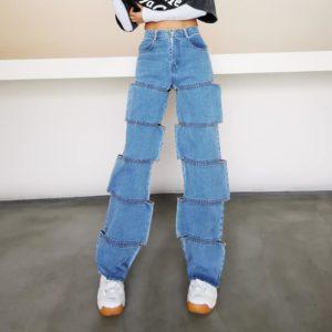 High Waist Hollow-Out Jeans