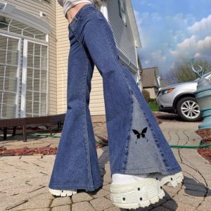 High Waist Jeans with Wide Leg Butterfly Print