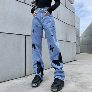 High Waist Loose Trousers with Black Butterflies