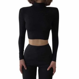 Turtleneck Knitted Crop Top Black