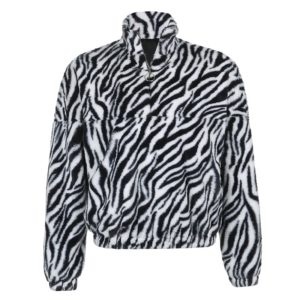 Vegan Fur Zebra Print Jacket
