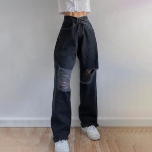 Wide Leg Black Jeans with Ripped Knees