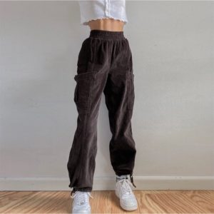 Corduroy High Waist Cargo Pants Brown