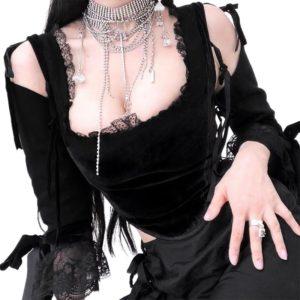 Gothic Velvet Lace Crop Top