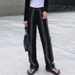 High Waist Black Tie-Dye Trousers