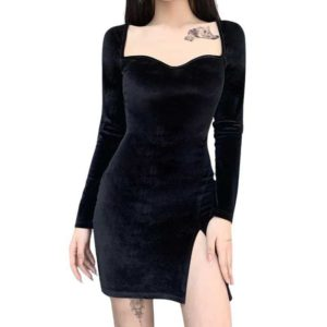 High Waist Long Sleeve Velvet Mini Dress