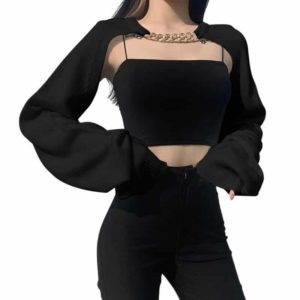 Hollow Out Cropped Cardigan with Neck Chain Black
