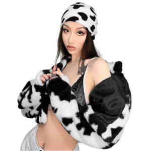 Vegan Fur Cow Print Jacket