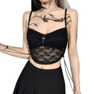 Black Lace Camisole with Cross