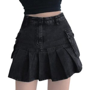 High Waist Denim Pleated Mini Skirt