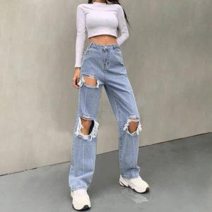 High Waist Distressed Denim Trousers